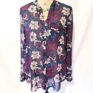 Kut from the Kloth | Sheer Floral V-Neck Blouse